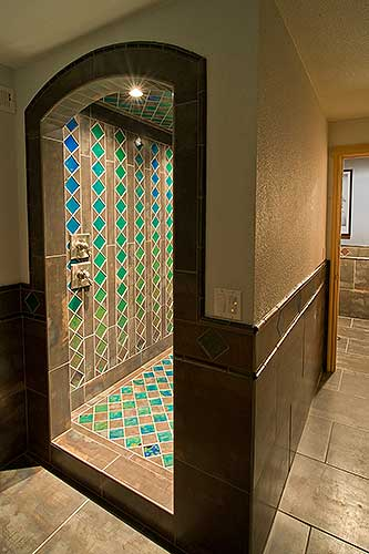 Geometrical Color Changing Tile Shower